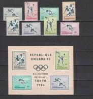 Rwanda 1964,8V+Block,olympic,olympisch,olympische,olympique,olympicos,olimpici,MNH/Postfris(L2202) - Zomer 1964: Tokyo