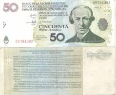 LECOP BANCO DE LA NACION ARGENTINA FIDUCIARIO DEL FONDO PARA EL DESARROLLO PROVINCIAL  50 PESOS JUAN BAUTISTA  ALBERDI - Argentina
