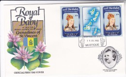 1982  FDC MUSTIQUE Ovpt ROYAL BABY  Ovpt, Princess Diana Birthday Map Stamps Royalty, Cover - St.Vincent & Grenadines