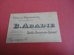 Petite Carte De Représentant Vins De Bourgogne B.Abadie Chablis Dannemoine Epineuil - Non Classés