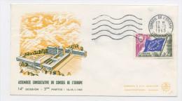 FRANCE -  SERVICE - N° Yvert 28 SUR LETTRE DU 14/1/1963 DE STRASBOURG  (ENVELOPPE ILLUSTRÉE ASSEMBLÉE CONSULTATIVE) - Lettres & Documents