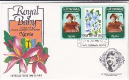 1982  FDC NEVIS ROYAL BABY  Ovpt, Princess Diana Birthday  Blue Flower Stamps Royalty, Cover - St.Kitts And Nevis ( 1983-...)