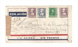 Spanish Air Mail Cover 1939 Censura Militar Barcelona To France Paris PR2648 - 1931-Today: 2nd Rep - ... Juan Carlos I