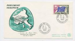 FRANCE -  SERVICE - N° Yvert 28 SUR LETTRE DU 25/3/1963 DE STRASBOURG  (ENVELOPPE ILLUSTRÉE PARLEMENT EUROPÉEN) - Lettres & Documents