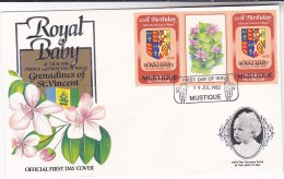 1982  FDC MUSTIQUE Ovpt ROYAL BABY Ovpt Princess Diana Birthday HERALDIC LION FLOWER Stamps Royalty, Cover - St.Vincent & Grenadines