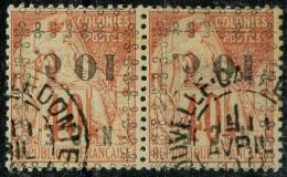 Nouvelle Caledonie (1891) N 13a (o) Surcharge Paire Renversé - Usati