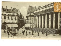 215LL. Nantes, Théatre Graslin Et Hotel De France, Animation, Tramway- Timbre Semeuse Camée 25c 1927 - Nantes