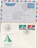 672 Schweiz  1957 1965  Mountain  2 FDC Zermatt Matterhorn Stoune Sent To Sweden CEPT - FDC