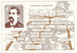 MOLDOVA   MOLDAVIE  MOLDAU , 1996 ;  Personalities ; M.Eminescu ; Poet ;  Bloc ; MNH - Moldawien (Moldau)