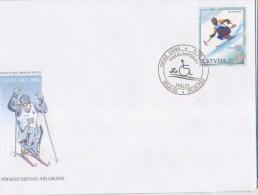 453 Latvia  2002 Olimpic Games Salt Lake City FDC Lettland Paralympic Games. Skiing - Letland