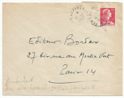 AMBULANT DE PARIS AUX PYRENEES SUR LETTRE DU 16/2/1957 - Marcophilie (Lettres)
