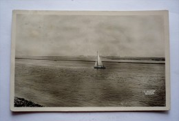 80 - Cpsm Petit Format 1950 -  SAINT-VALERY-SUR-SOMME - La Baie De La Somme Vers LE CROTOY - Voilier - Saint Valery Sur Somme