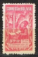 Sello 3,70 Bolivares, BOLIVIA 1948, Congreso Educacion Catolica * - Bolivia