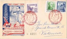 16975. Carta Certificada CADIZ 1949. Facultad De Medicina. Recargo Victimas Guerra - 1931-50 Lettres