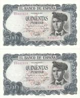 Spain Lot 2 Correlative Banknotes 500 Pesetas 1971 P153 Xf - [ 3] 1936-1975 : Régence De Franco