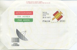 ITALIA - AEROGRAMMA 1977 - LANCIO DEL SATELLITE SIRIO - SPAZIO - 6. 1946-.. Repubblica