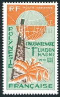 POLYNESIE 1966 - Yv. PA 16 ** TB  Cote= 23,50 EUR - Cinquantenaire 1ère Liaison Radio ..Réf.POL22787 - Poste Aérienne