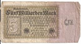 ALLEMAGNE 5 MILLIARDEN MARK 1923 VG+ P 115 - [ 3] 1918-1933 : Weimar Republic