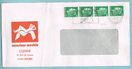 """Bande De 4 N° 1611 Sur Lettre """"Monsieur Meuble"""" ; Fl Illustrée De Rouen Gare Du 07-06-1978 - Oblitérations Mécaniques (flammes)"""