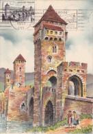 Carte-Maximum FRANCE N° Yvert 1119 (CAHORS - Pont Valentré) Obl Sp FLAMME Ill 1957 (Ed BD 2126A) - Cartes-Maximum