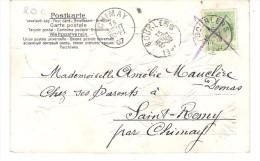Bourlers Annulation Le 16 Et Cachet 15 à Chimay - Balkenstempel: Bahnpoststempel