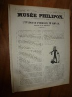 """1840  """" L'étudiant Piocheur Et Rangé """"   Musée PHILIPON  : Musée Et Magasin Comiques  ,dessins De L. Eustache - 1800 - 1849"""