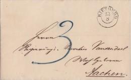 Brief Gelaufen Von K2 Rietberg 13.8.1850 Nach Aachen Mit Inhalt - Deutschland