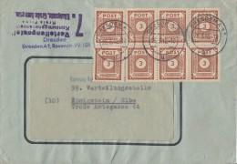 Ost-Sachsen Brief Mef Minr.8x 56 Dresden 26.3.46 - Sowjetische Zone (SBZ)