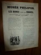 1840  LES BURGS Infiniment Trop GRAVES ,Tartinologie Découpée En 3 , Musée PHILIPON  (paroles Victor Hugo) ,ill Cham Etc - 1800 - 1849