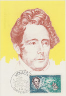 Carte  Maximum  1er  Jour   MONACO    Alphonse   DE  LAMARTINE    1970 - Cartas Máxima