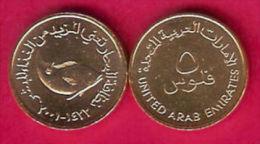 EMIRATOS ARABES  UNIDOS  5  Fils  Bronce  AH1422-2.001   KM#2.2  SC/UNC   DL-11.642 - Emiratos Arabes