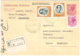 J466) ITALIA CARTOLINA POSTALE SIRACUSANA 40 LIRE VIAGGIATA RACCOMANDATA - 6. 1946-.. Repubblica