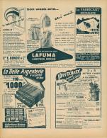 Ancienne Publicité (1955) : Sac à Dos LAFUMA, Pistolet à Peinture, Compresseur PISTOLUX, Argenterie  FABRIQUE-UNION... - Publicités