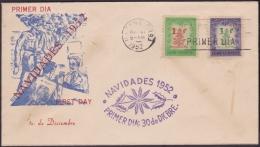 1952-FDC-30 CUBA REPUBLICA FDC. 1952. CHRISTMAS NAVIDADES. PASCUA FLOWER VIOLET CANCEL. RARE CACHET. - FDC