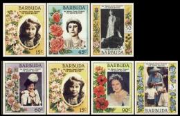BARBUDA 1985 Queen Mother IMPERF SET:7   [non Dentelé, Geschnitten] - Antigua En Barbuda (1981-...)