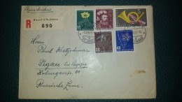 SWITZERLAND SUISSE COVER REGISTERED MAIL TO PEGAU GERMANY  - PRO JUVENTUTE 1949 FLOWERS - Lettres & Documents
