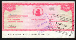 ZIMBABWE :  5000 Dollars - 2003 Emergency Travellers´ Checks - XF - Zimbabwe