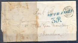 """1850 ,  CARTA CIRCULADA ENTRE MARSELLA Y BARCELONA , MARCA DE LLEGADA Nº 78 EN AZUL , """" DE FRANCIA"""" , PORTEO - ...-1850 Voorfilatelie"""