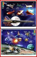 BHUTAN = MILLENNIUM 2000 X2 M/S USA & RUSSIA SPACE ODYSSEY MNH ** FREE POSTAGE Is POSSIBLE - Bhutan