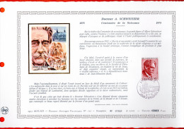 """MONACO 1975 : Document Artistique Philatélique Nté / Soie (2500 Ex.) """" DR SCHWEITZER """" N° YT 1011. Parfait état. DAP"""