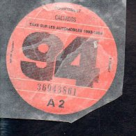 Timbre Fiscal - Vignette Automobile 94  - A2  - 1994 Calvados 14 - Fiscaux