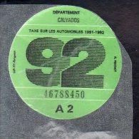 Timbre Fiscal - Vignette Automobile 92  - A2 - 1992 Calvados 14 - Fiscaux
