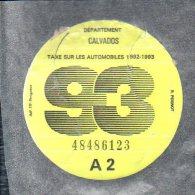 Timbre Fiscal - Vignette Automobile 93  - A2 - 1993 Calvados 14 - Fiscaux