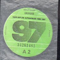 Timbre Fiscal - Vignette Automobile 97  - A2 - 1997 Calvados 14 - Fiscaux