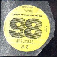 Timbre Fiscal - Vignette Automobile 98  - A2 - 1998 Calvados 14 - Fiscaux