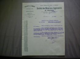 BOUCHAIN NORD SOCIETE DES MATERIAUX AGGLOMERES DE BOUCHAIN TUYAUX EN CIMENT VOUSSETTES COURRIER DU 27 AOUT 1938 - 1900 – 1949