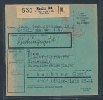 Paketkarte-Rüstungsgut...  (be2782  ) Siehe Scan  ! - Germany