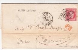 1871.  LETTRE.  CRÉDIT LYONNAIS AGENCE DE LYON. N° 32 SEUL SUR LETTRE. POUR TURIN ITALIE. 3è ECHELON. PD  /  7338 - 1849-1876: Classic Period