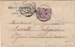 1901.  LETTRE.  CRÉDIT LYONNAIS AGENCE DE LYON. N° 115 PERFORÉ SEUL SUR LETTRE POUR St JEAN DE BRUEL / - Storia Postale