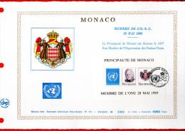 """Document Artistique Philatélique Nté / Soie De 1993 (1000 Ex.) """" MONACO DANS L'ONU """" N° YT BF 62. Parfait état. DAP - FDC"""